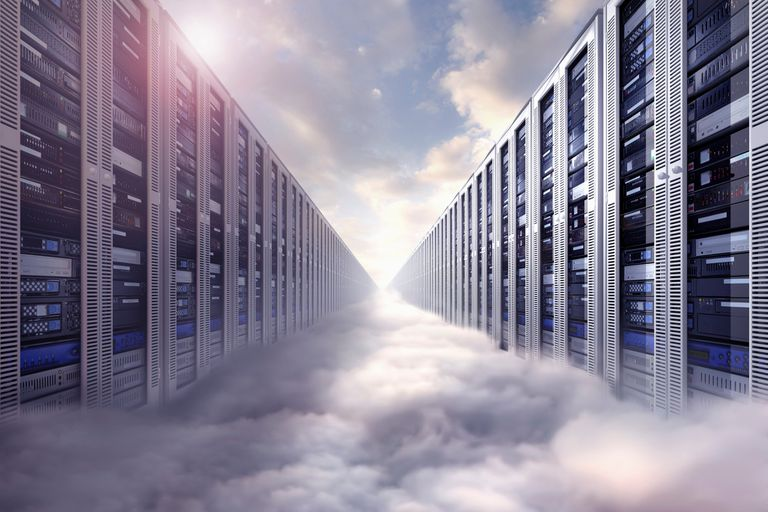 Digital illustration of endless server room floating in clouds, depicting computer storage