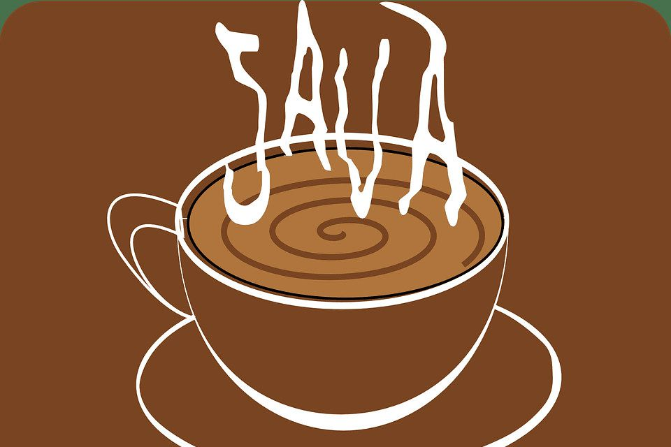Cup of coffee with steam reading 'JAVA'
