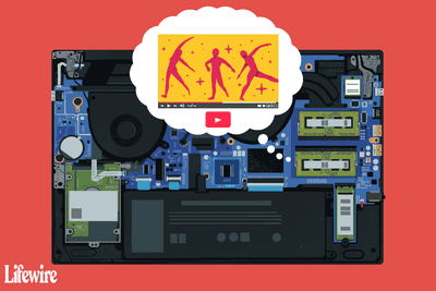Illustration of laptop components including RAM, which is dreaming of a YouTube video