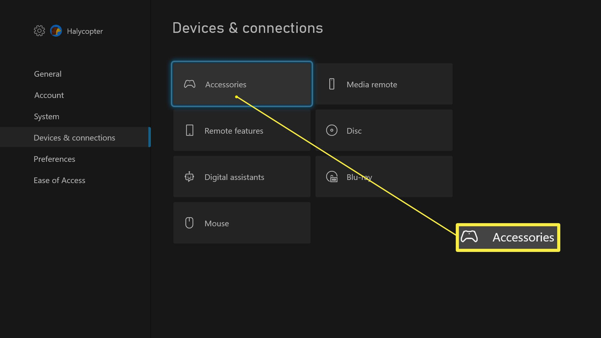 Xbox Series X/S Settings with Accessories highlighted