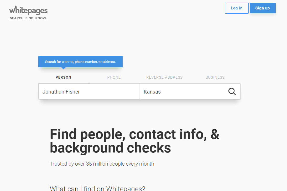 Whitepages home page