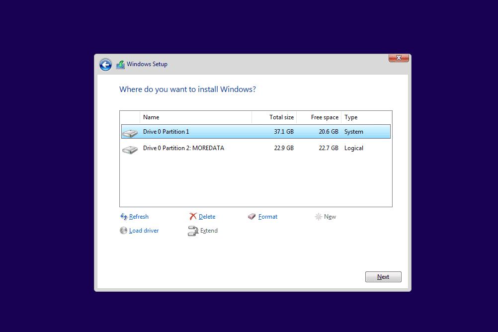 Windows Setup disc format drive options