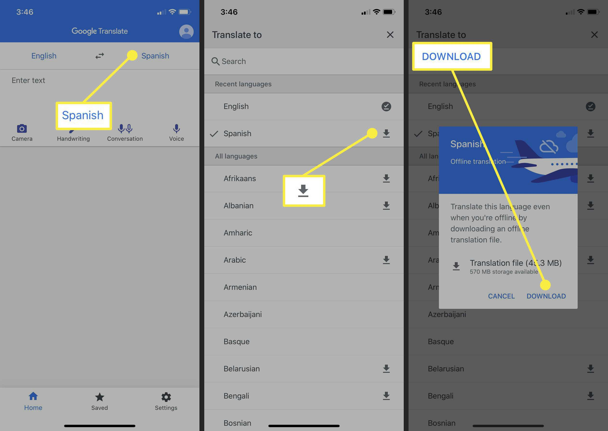 Steps to take to download a language for offline use in Google Translate.