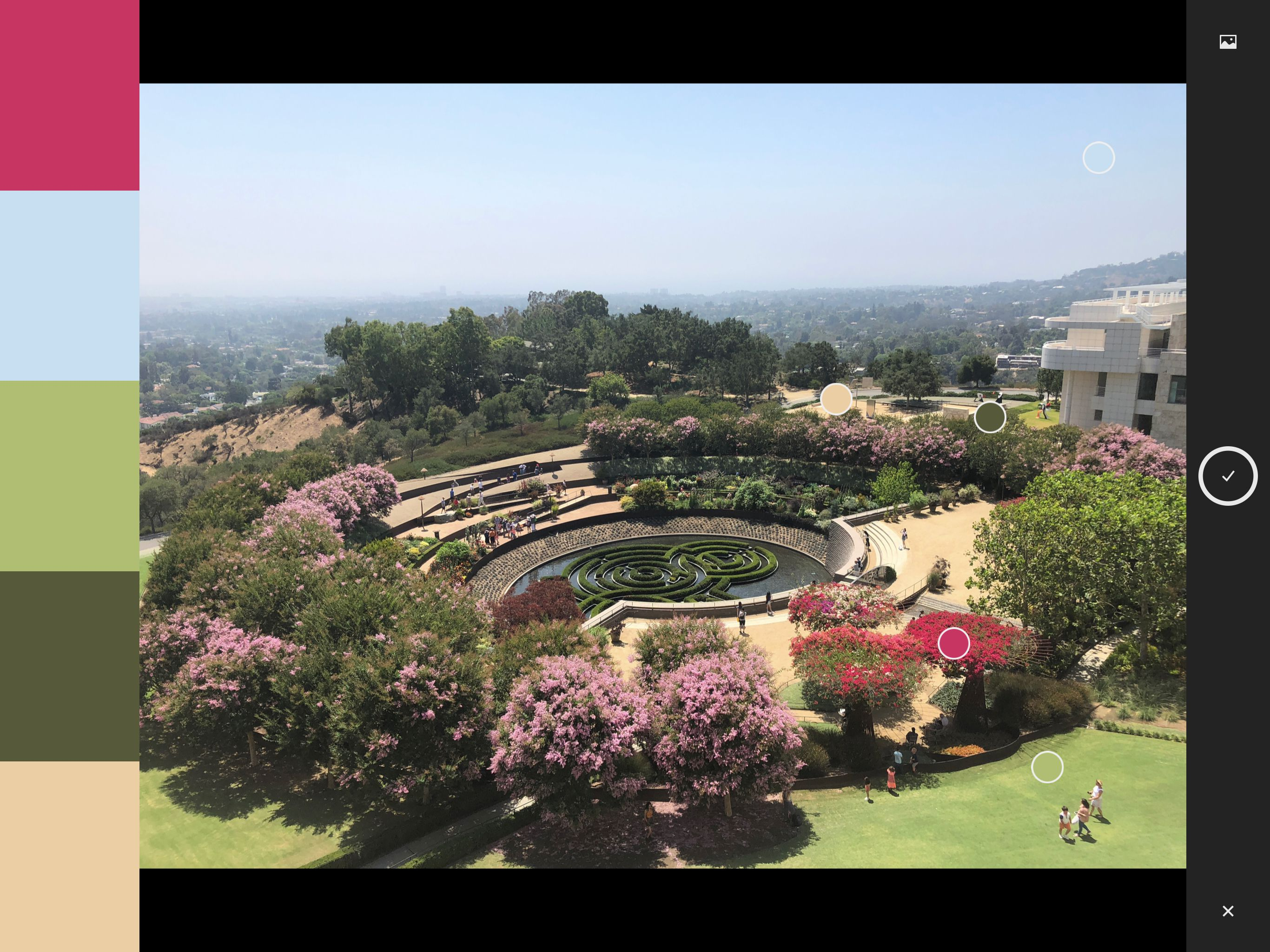 Screenshot of Adobe Capture CC app, shows 5 colors on left extracted to make a palette from a photo of the Getty Museum Gardens.