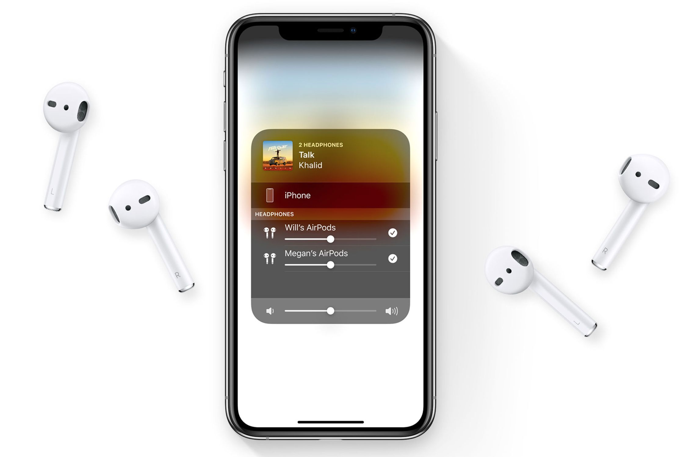 An iPhone sharing audio to 2 sets of AirPods