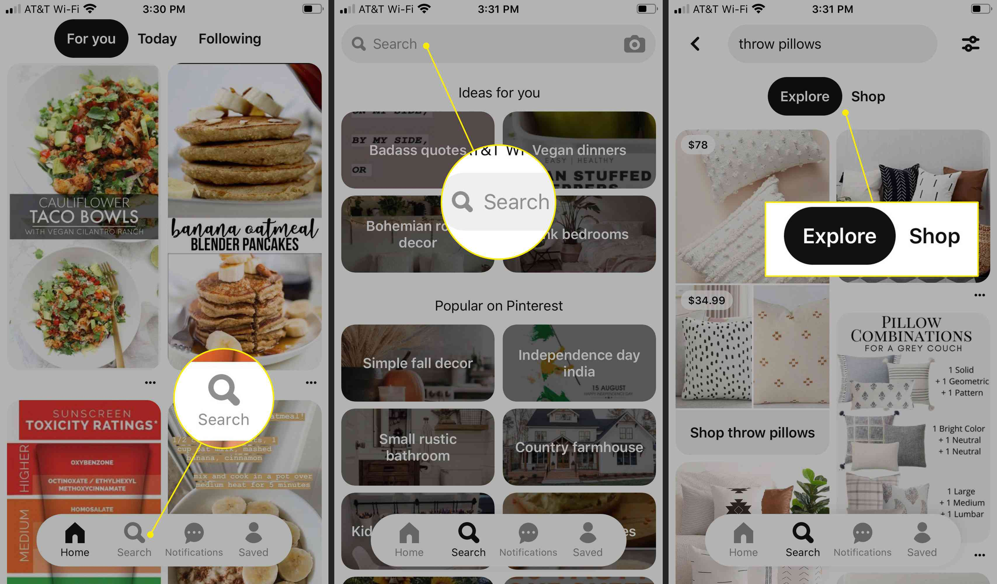 Searching for items on Pinterest for iOS