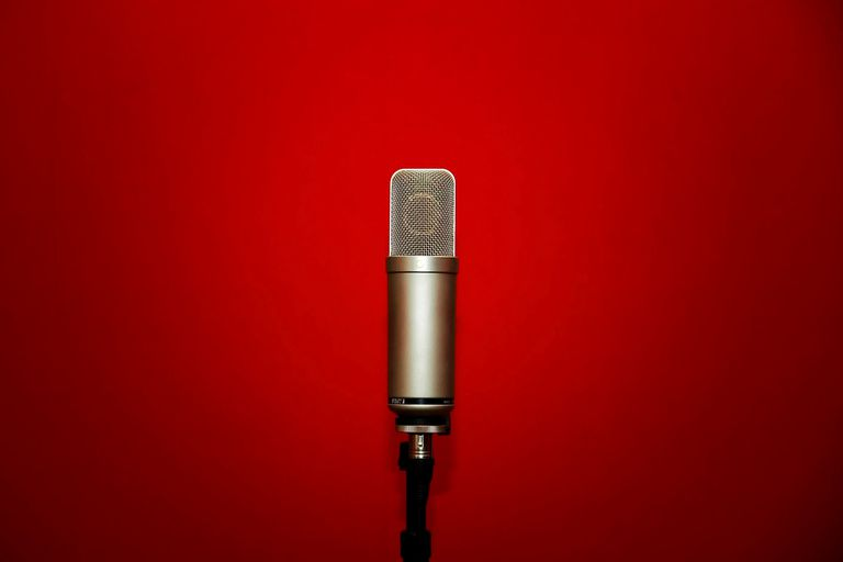 Microphone with red background