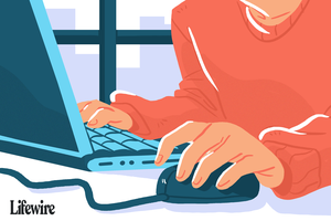 An illustration of a person using a mouse at a laptop computer.
