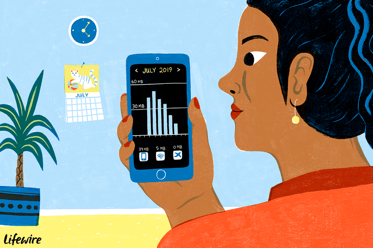 Illustration of a person holding a smartphone and looking at a data usage app