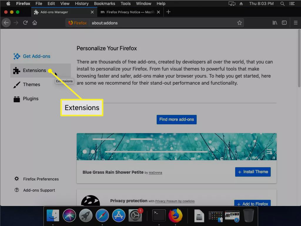 Firefox Add-ons screen with Extensions highlighted