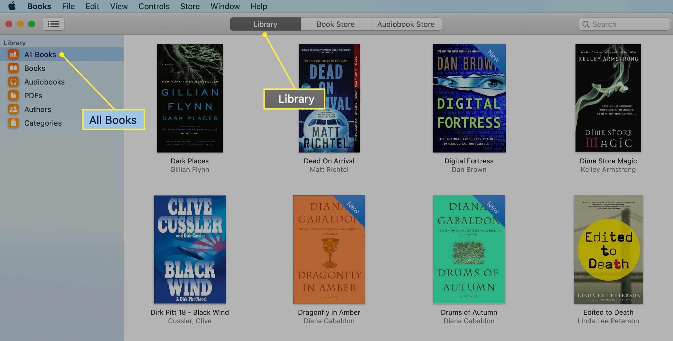 Books app with Library tab selected on a Mac