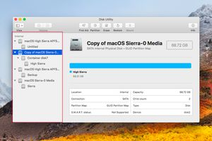 Disk Utility with sidebar open