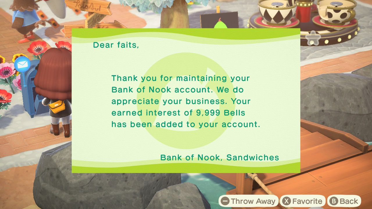 An interest payment in Animal Crossing.