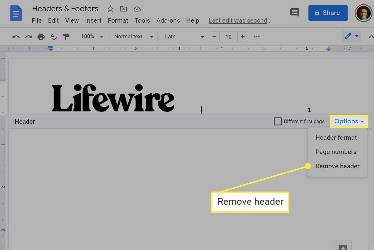 Google Docs remove header button.