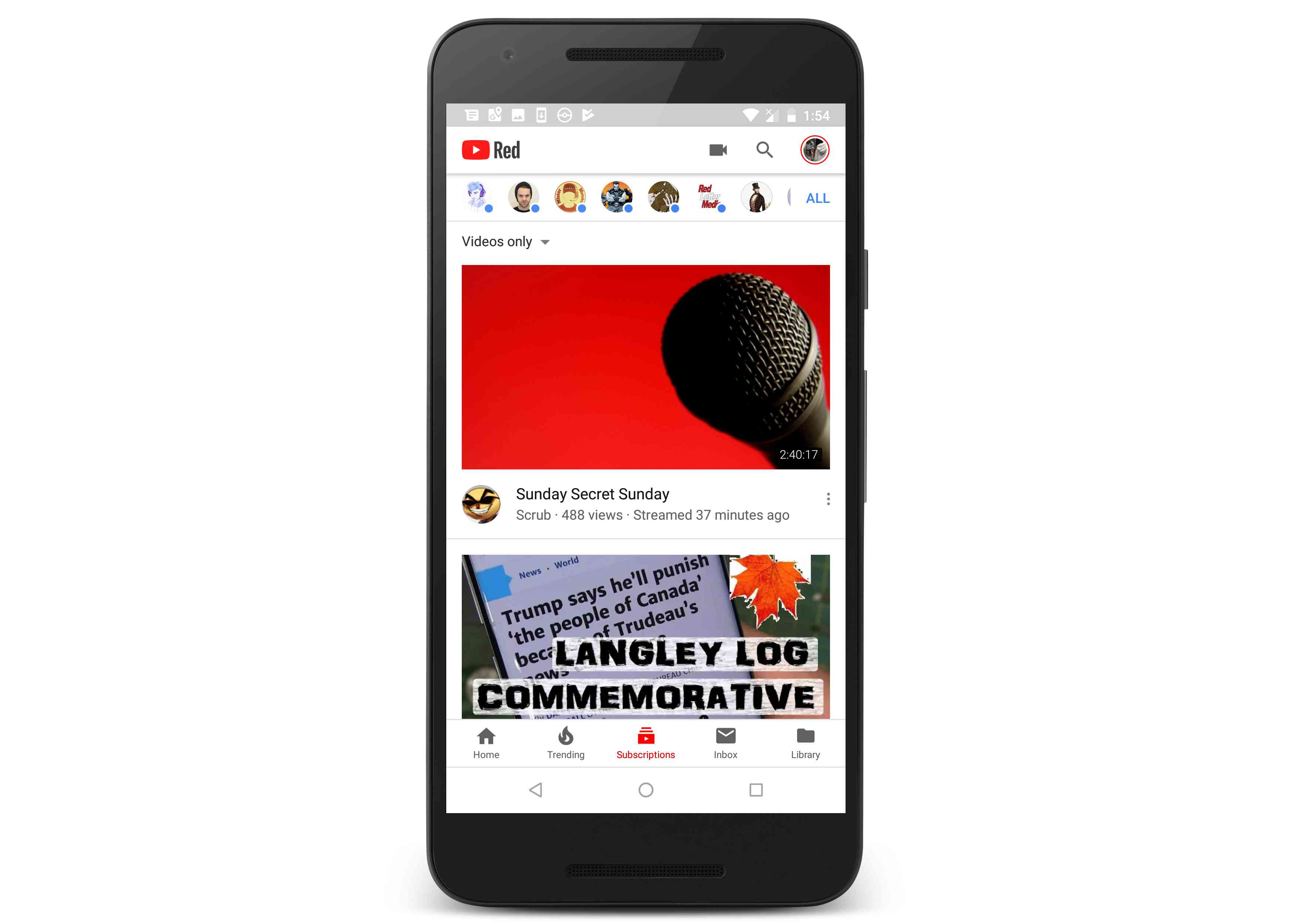 YouTube on a phone.