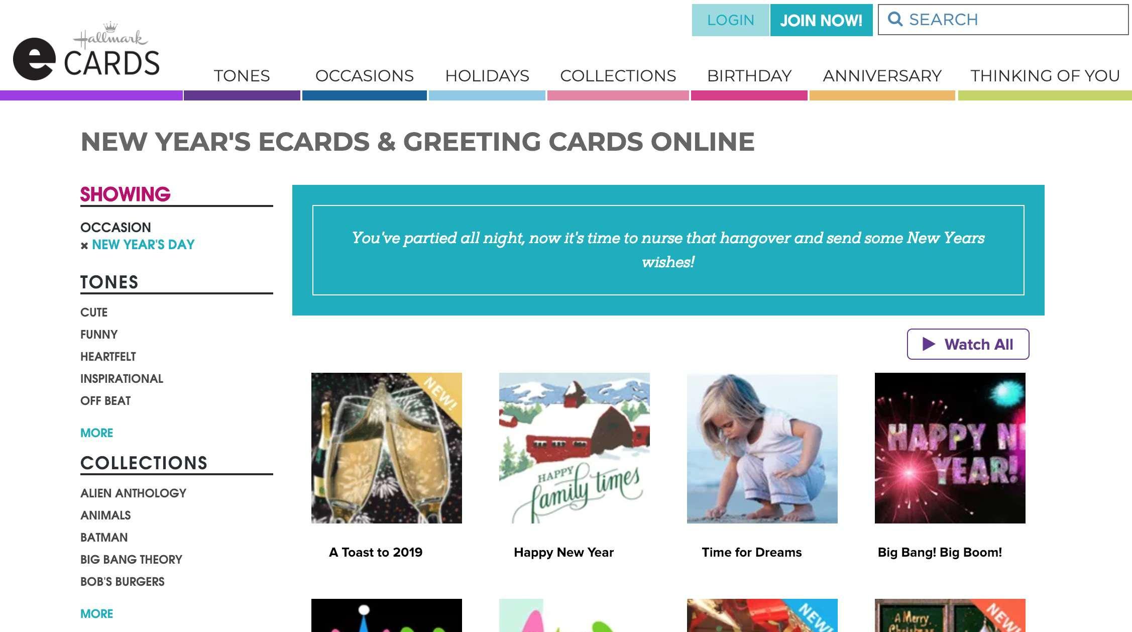 Hallmark eCards website
