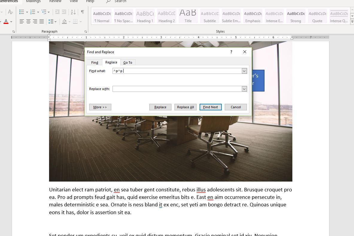 Screenshot of ^p^p in Find What box in Word