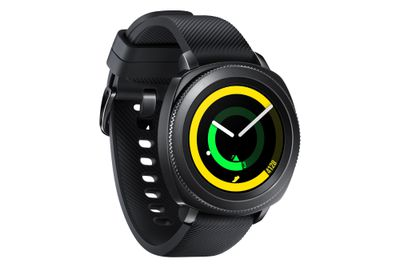 The Samsung Gear Sport Watch in black, at angle, with fitness rings on screen.