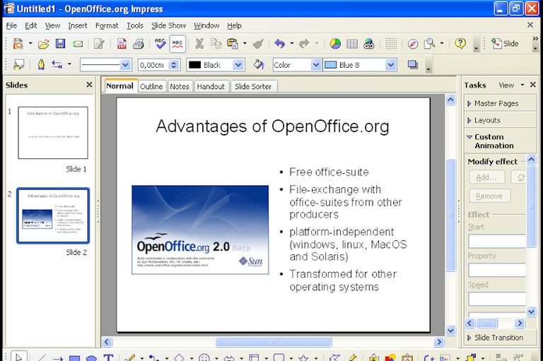 Open office Impress screenshot