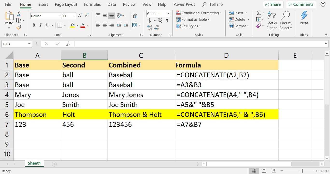 Screenshot of Excel showing use of Concatenate Function with ampersands