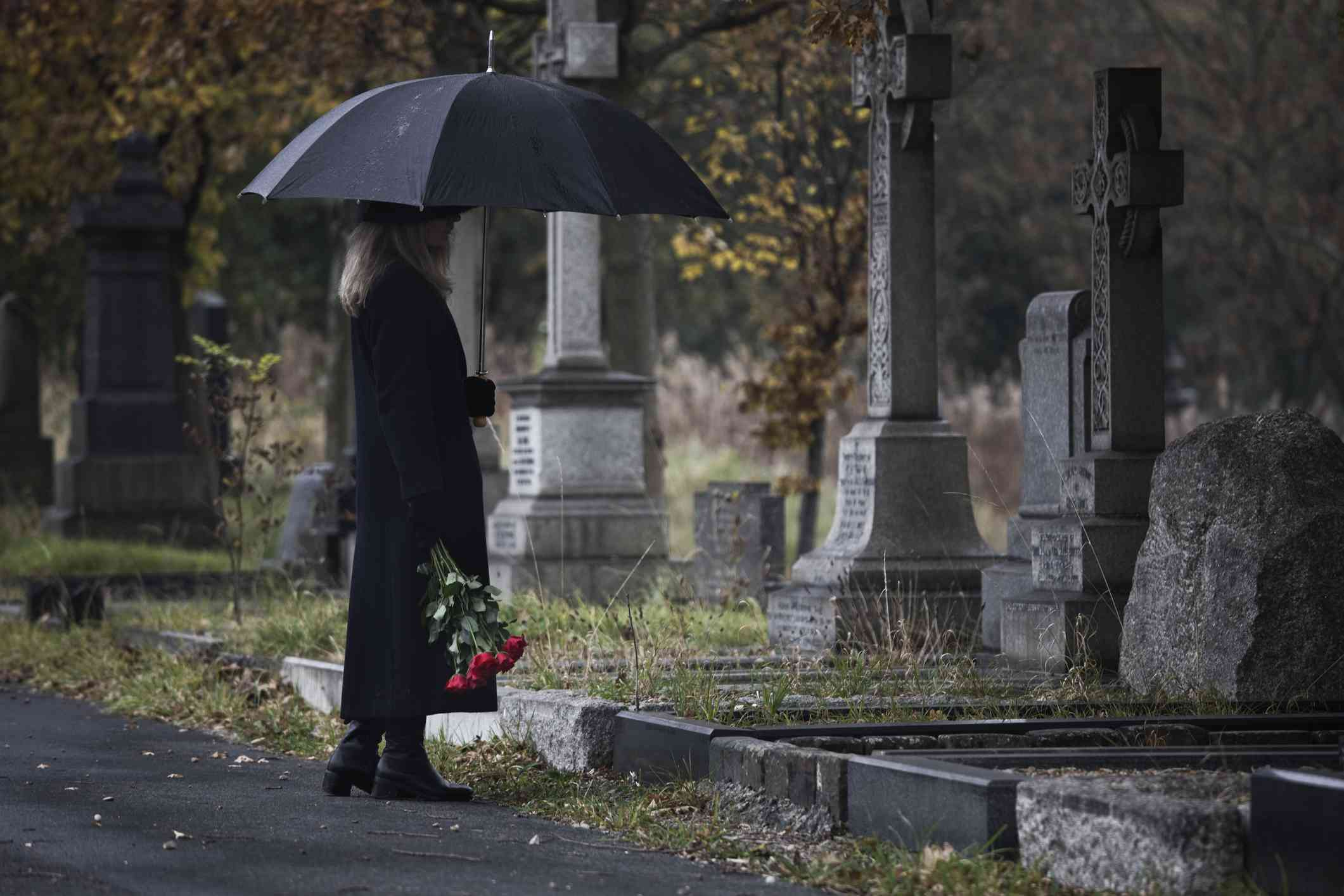 Widow in cemetary