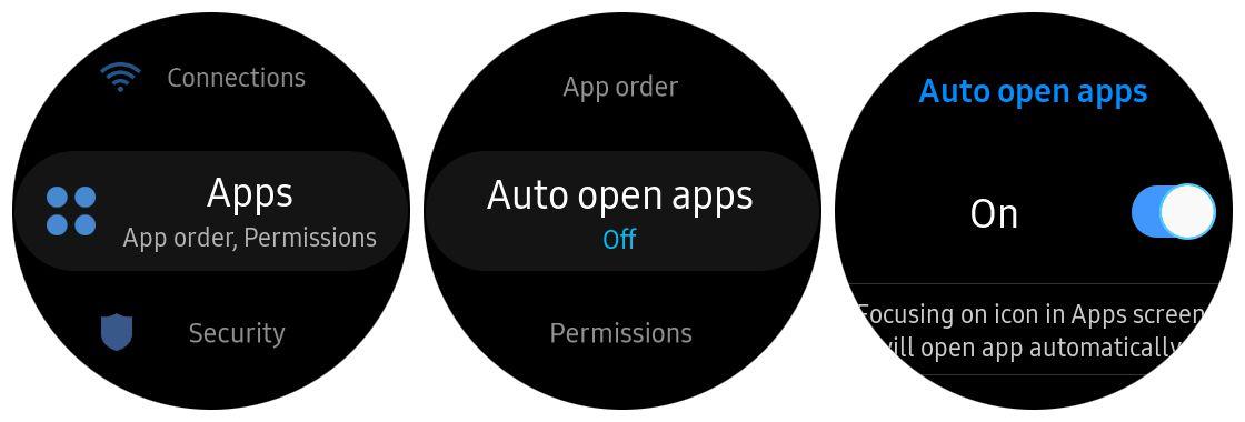 Samsung Gear S3 auto open apps