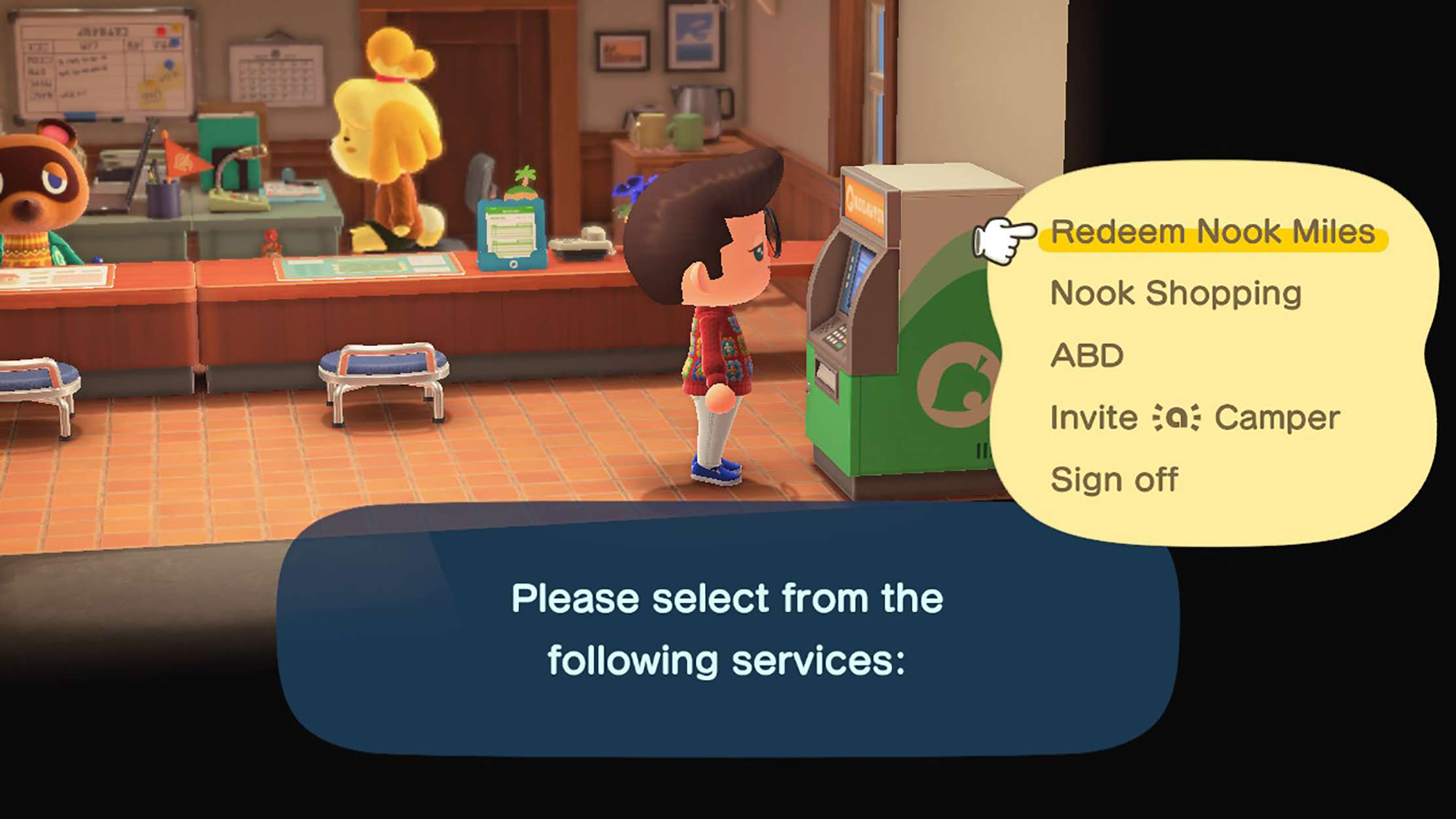Screenshot of the Nook Stop terminal from Animal Crossing