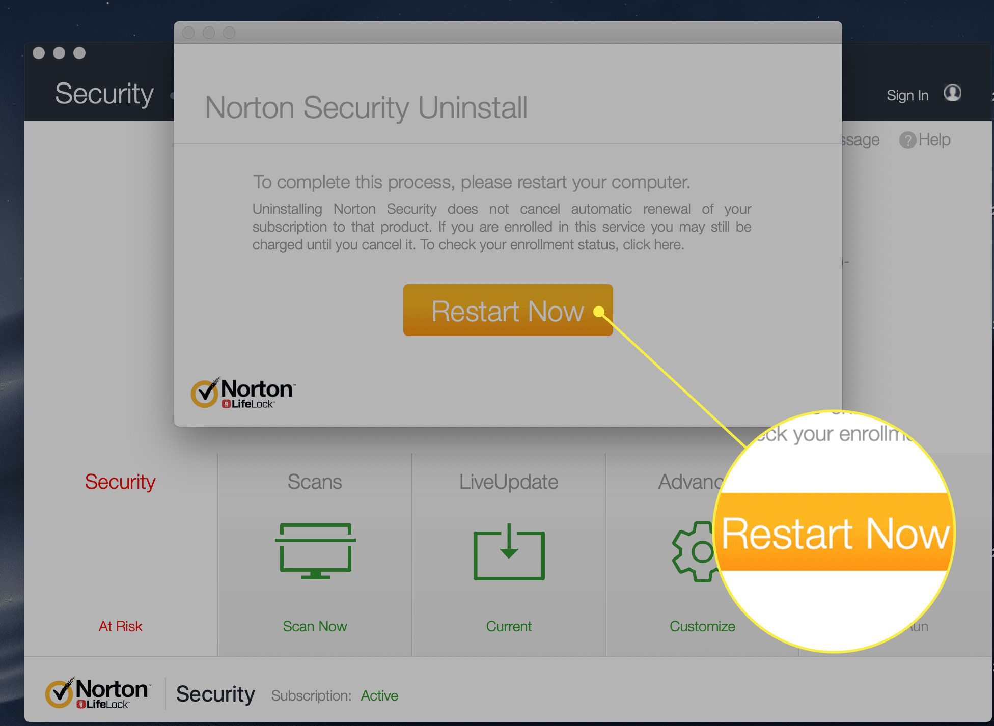 The Restart Now button in Norton Security Uninstall