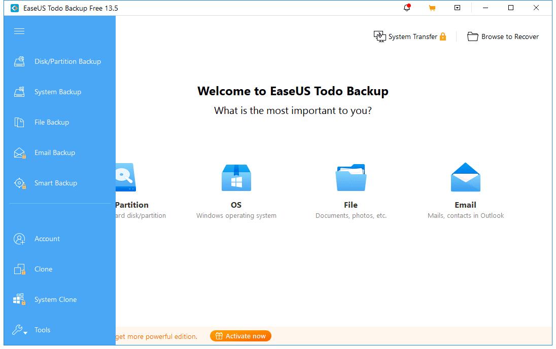 EaseUS Todo Backup Free menu options