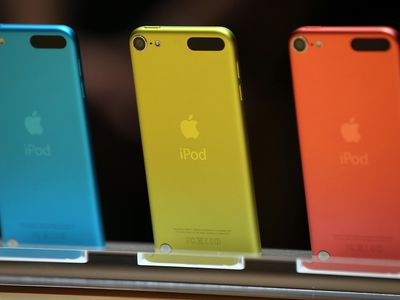 Blue, gold and red iPod touch devices