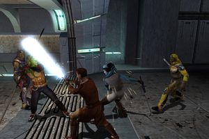Jedi characters fighting in Star Wars: Knights of the Old Republic