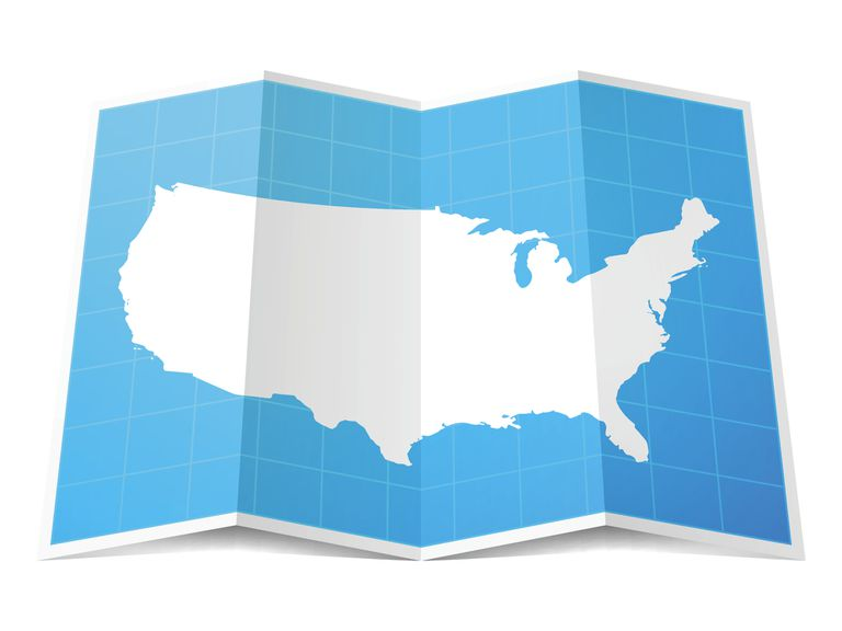 Accordian folded map of America