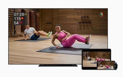 Apple Fitness+ on Apple TV, iPad, and iPhone.