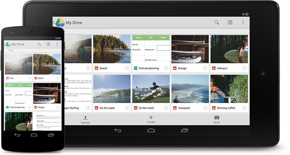 Google Drive on a tablet and a smartphone