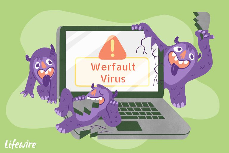 A conceptual illustration of the Werfault Virus destroying a laptop computer.