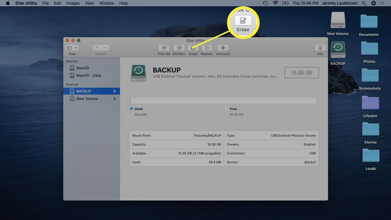 The Erase button highlighted in the Disk Utility app on macOS.
