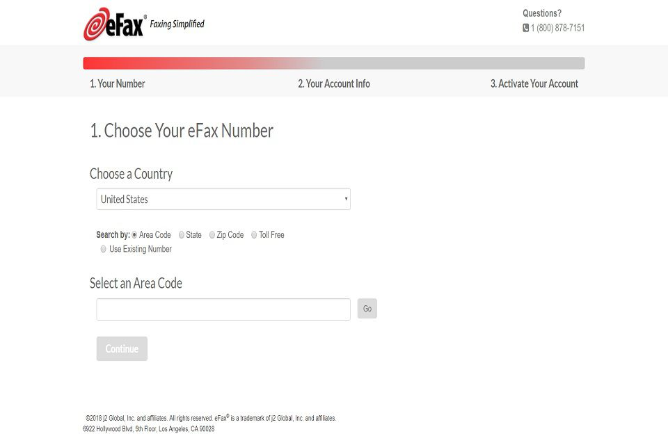 A screenshot of eFax's monthly membership sign-up webpage. You have to sign up for an account to use their services. On this page, you have to choose a location-specific eFax number.