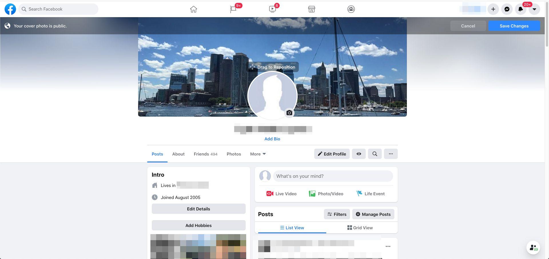 Facebook drag to reposition