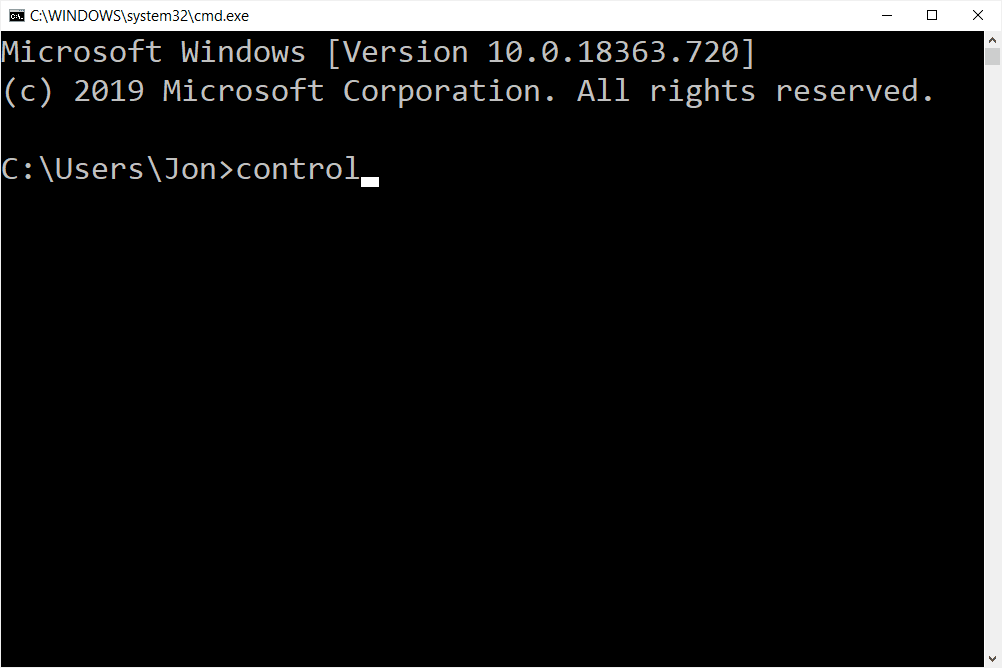 Control Panel open command in Command Prompt