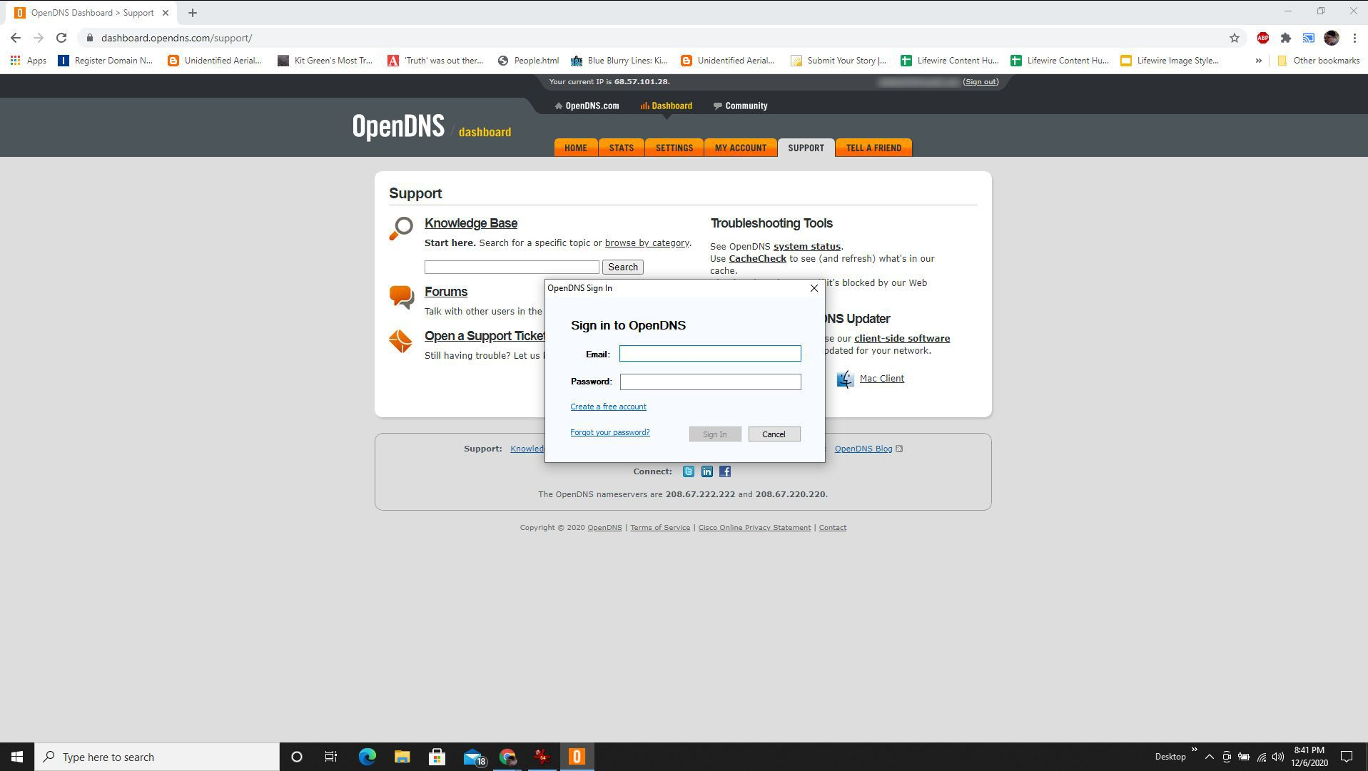 Screenshot of signing into OpenDNS account