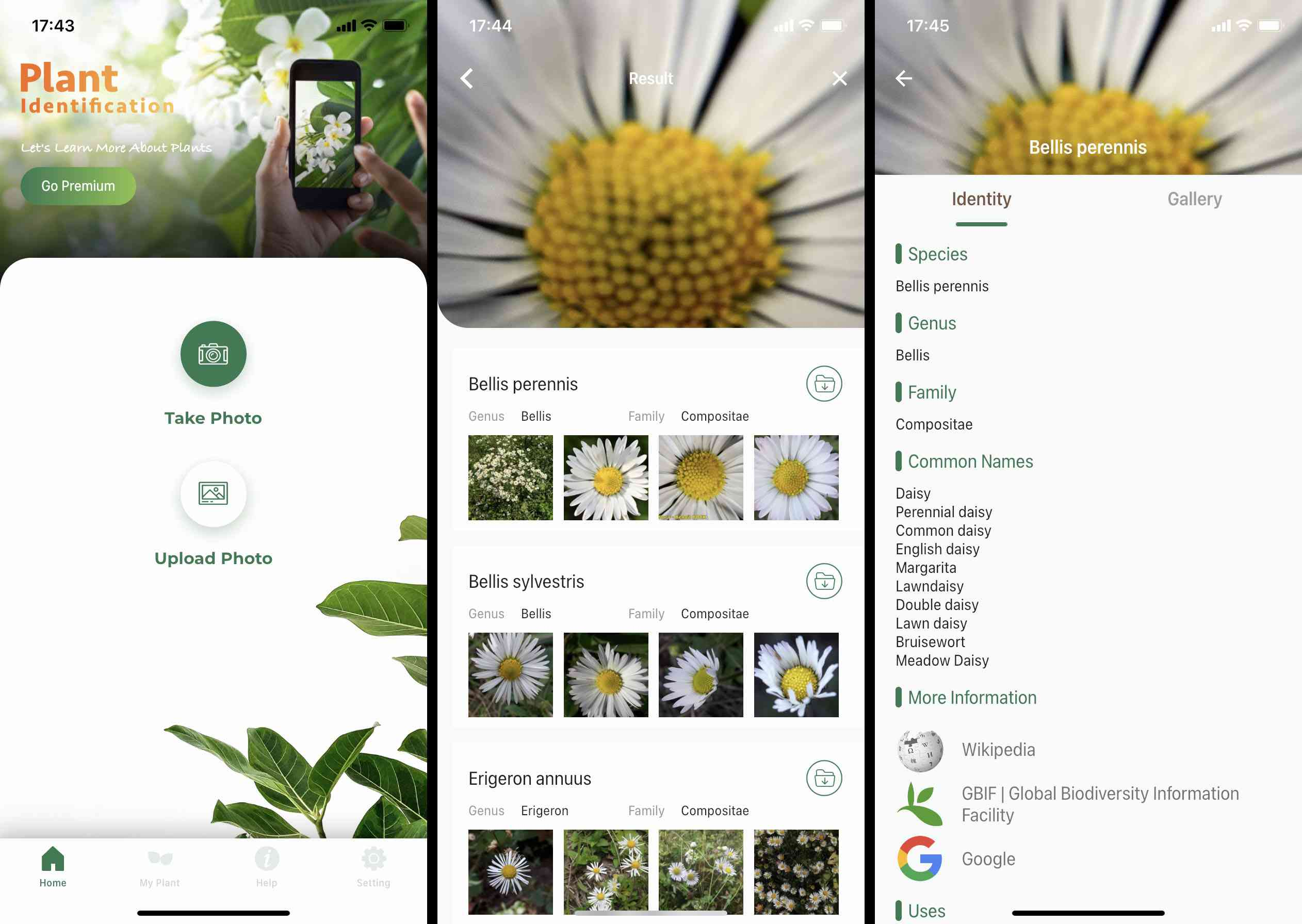LeafSnap iOS app screenshots
