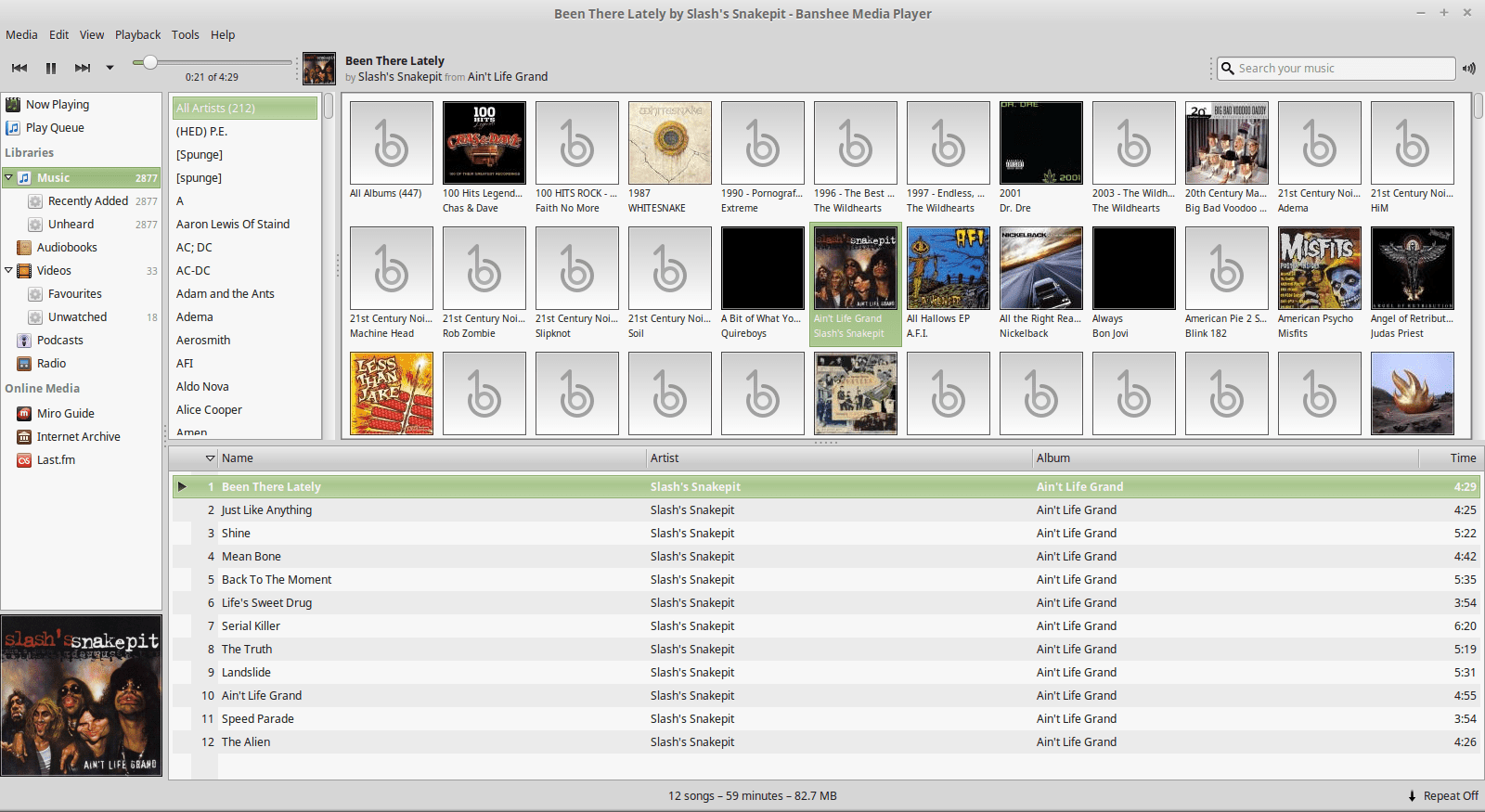 A music player in Linux Mint