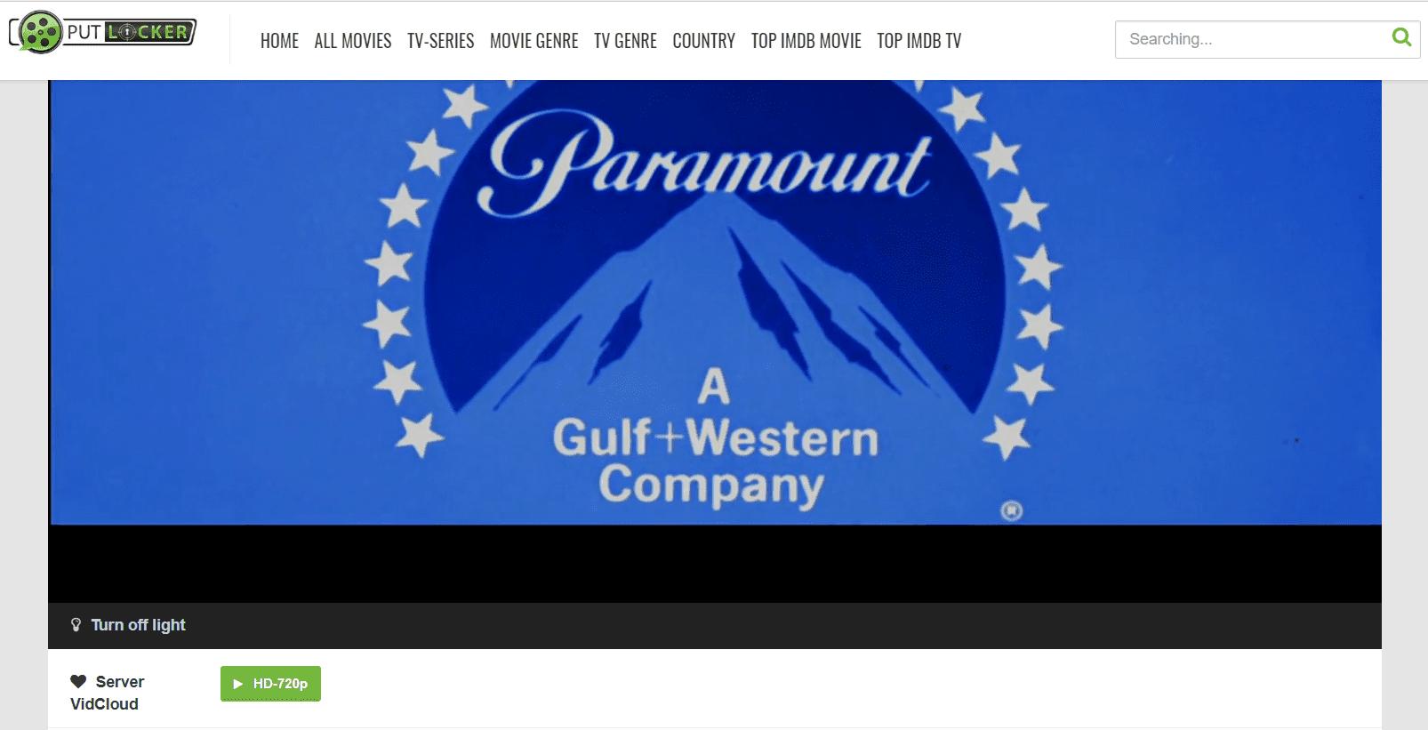 Screenshot of a free movie streaming website