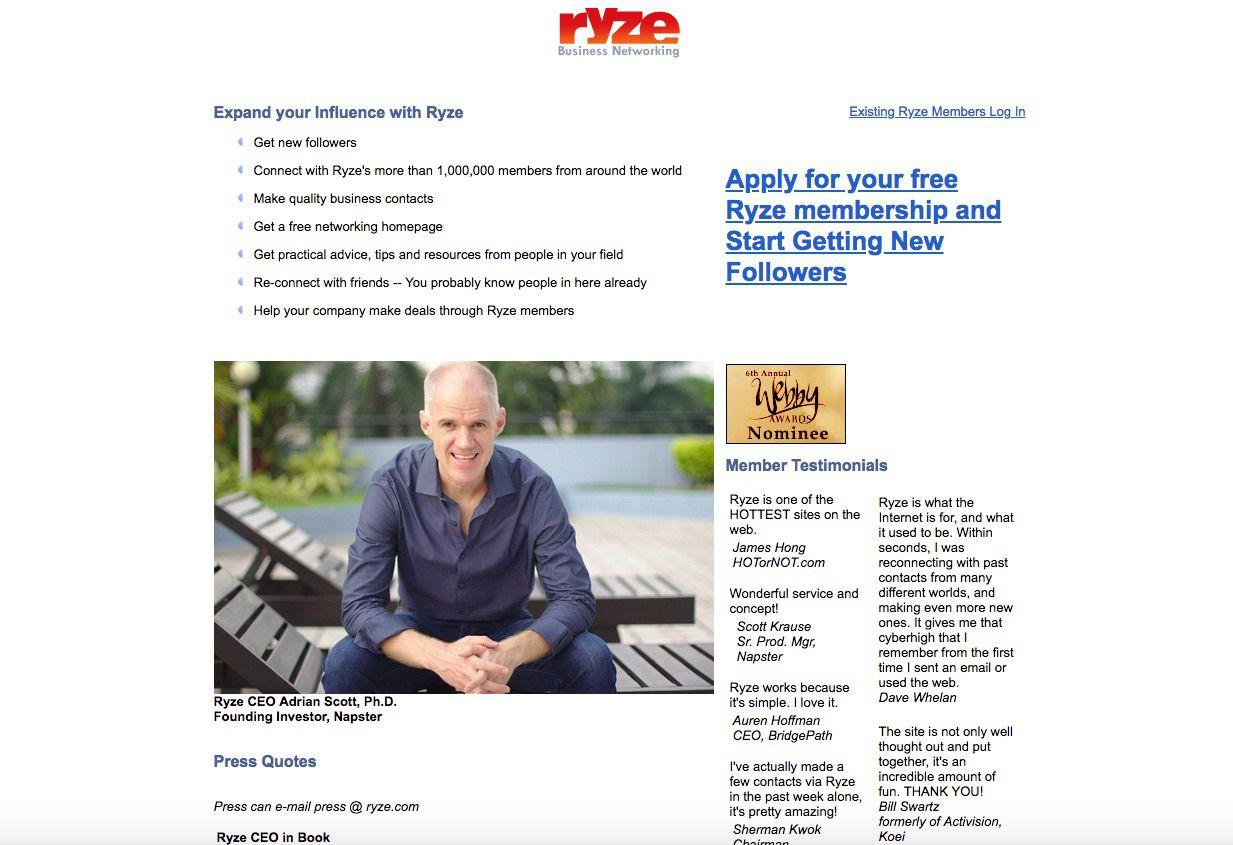 Ryze.com website