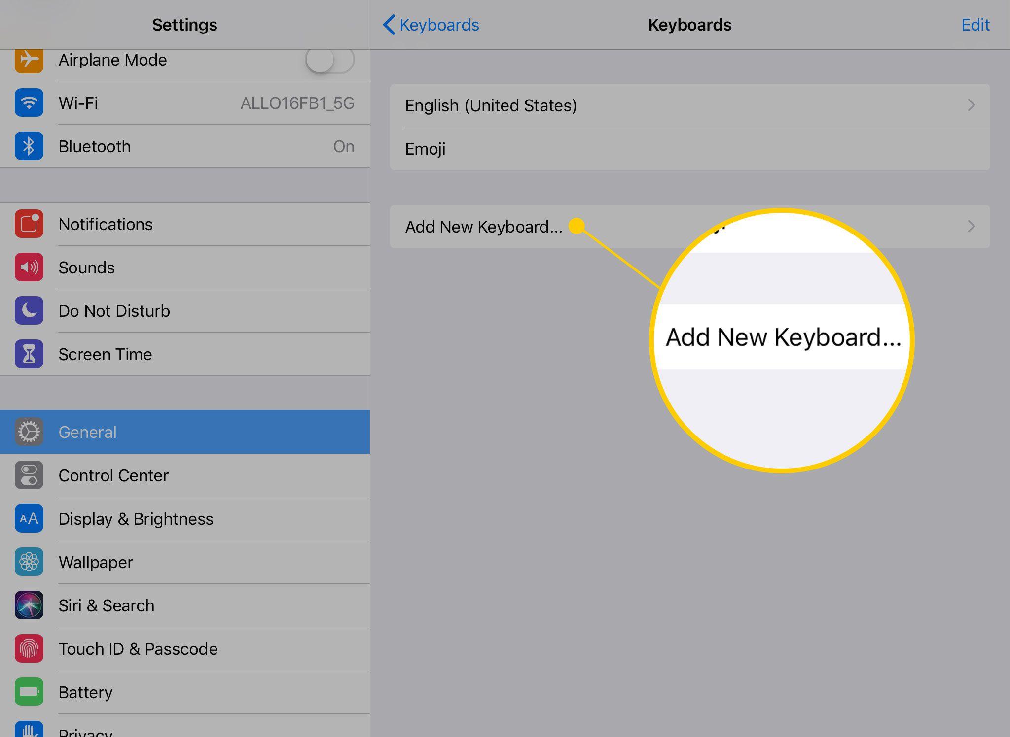 Add New Keyboard on an iPad