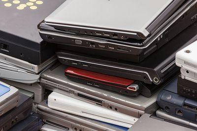 Old laptops on a pallet