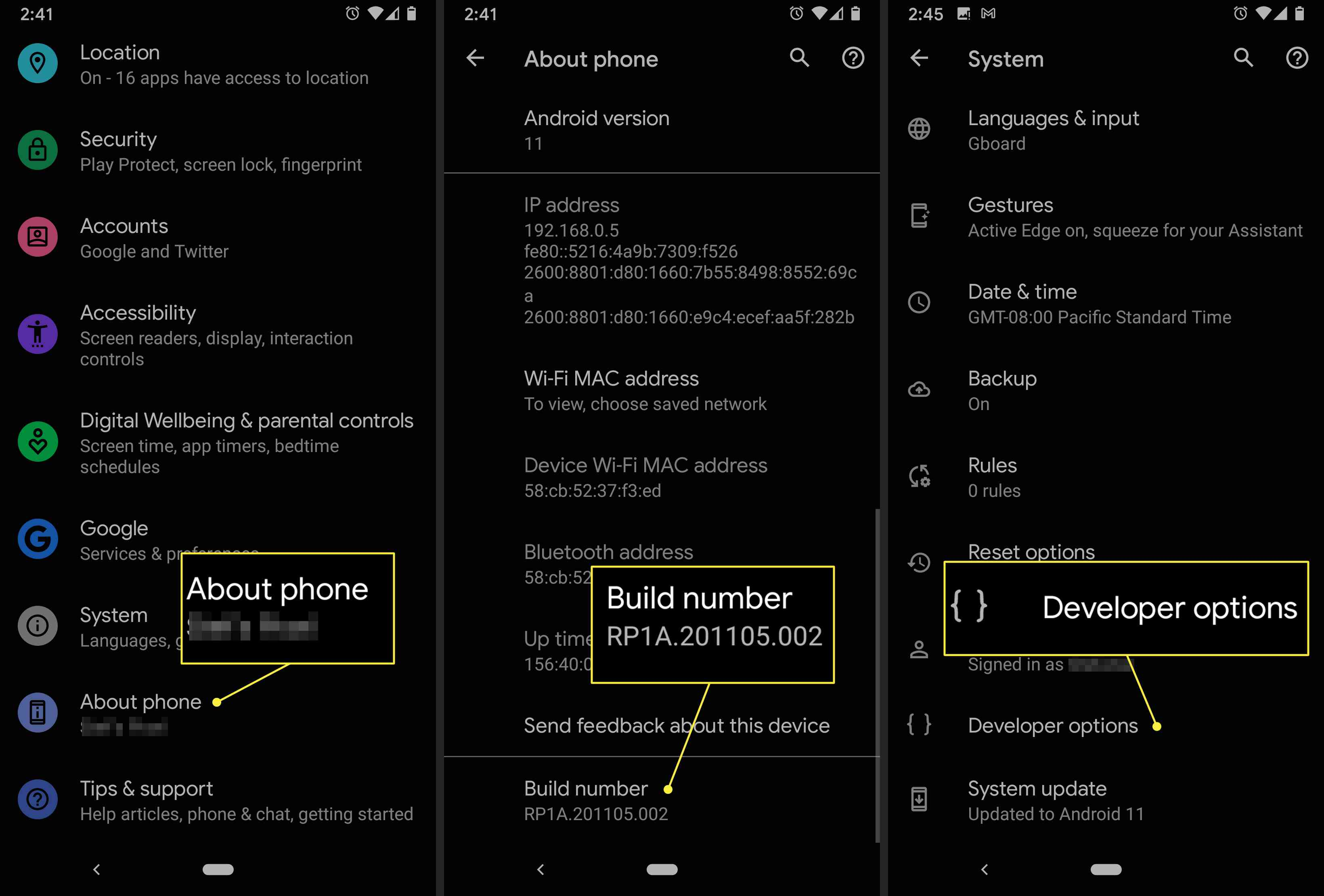 An Android user accesses the developer options on their device.
