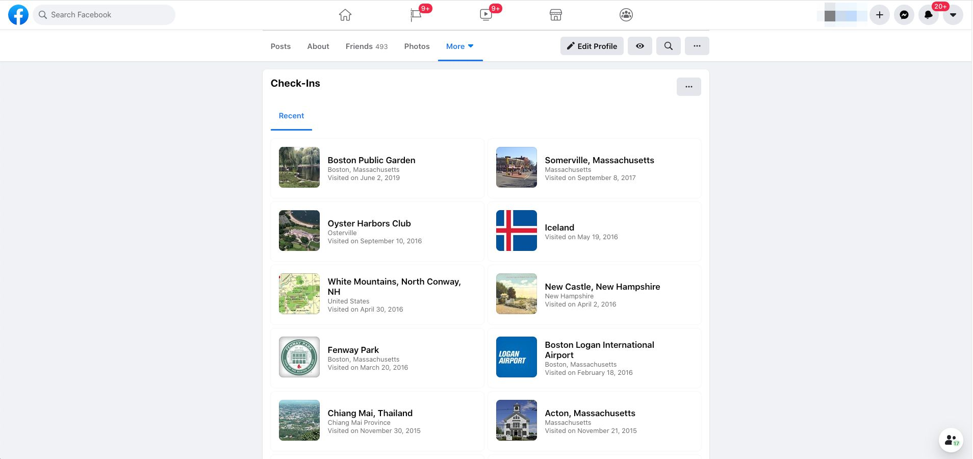 Facebook check ins page