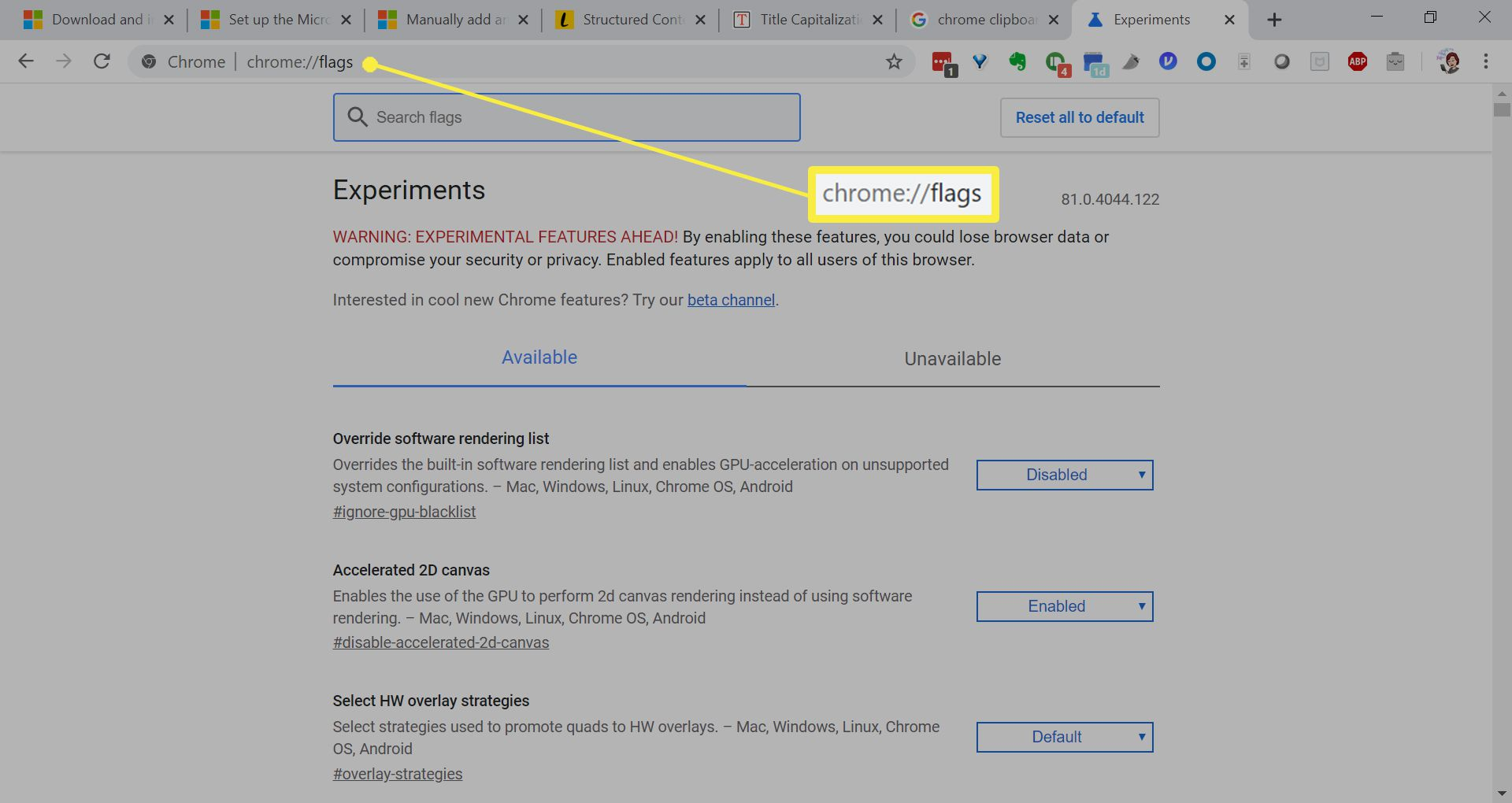 Flags page in Chrome browser.