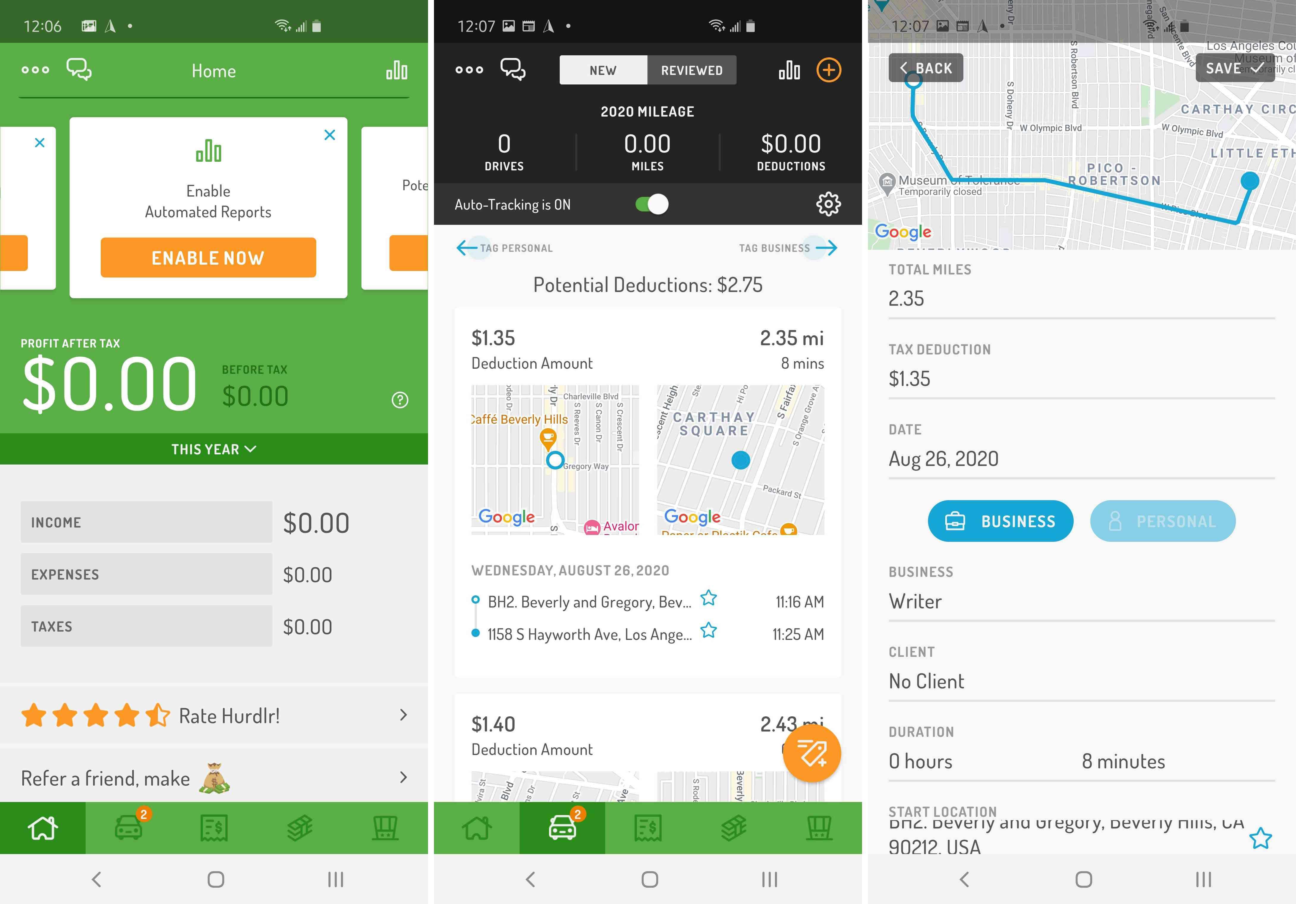Three views of the Hurdlr app.